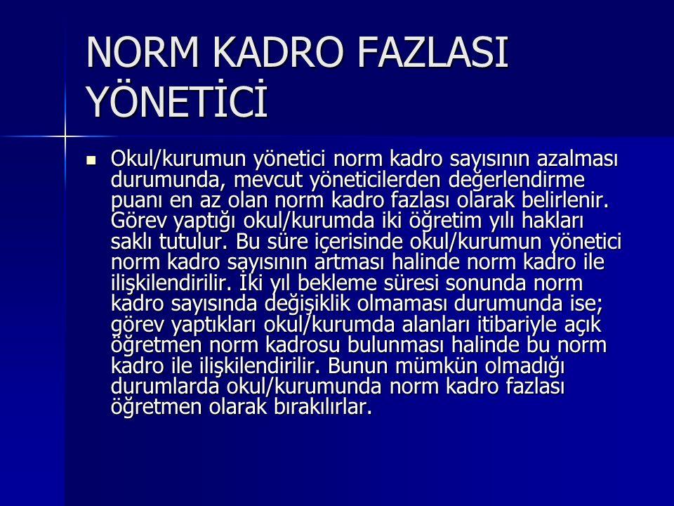 NORM KADRO FAZLASI YÖNETİCİ