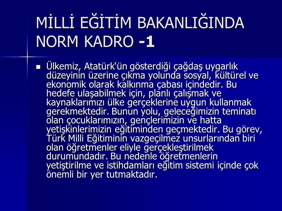 MİLLİ EĞİTİM BAKANLIĞINDA NORM KADRO -1