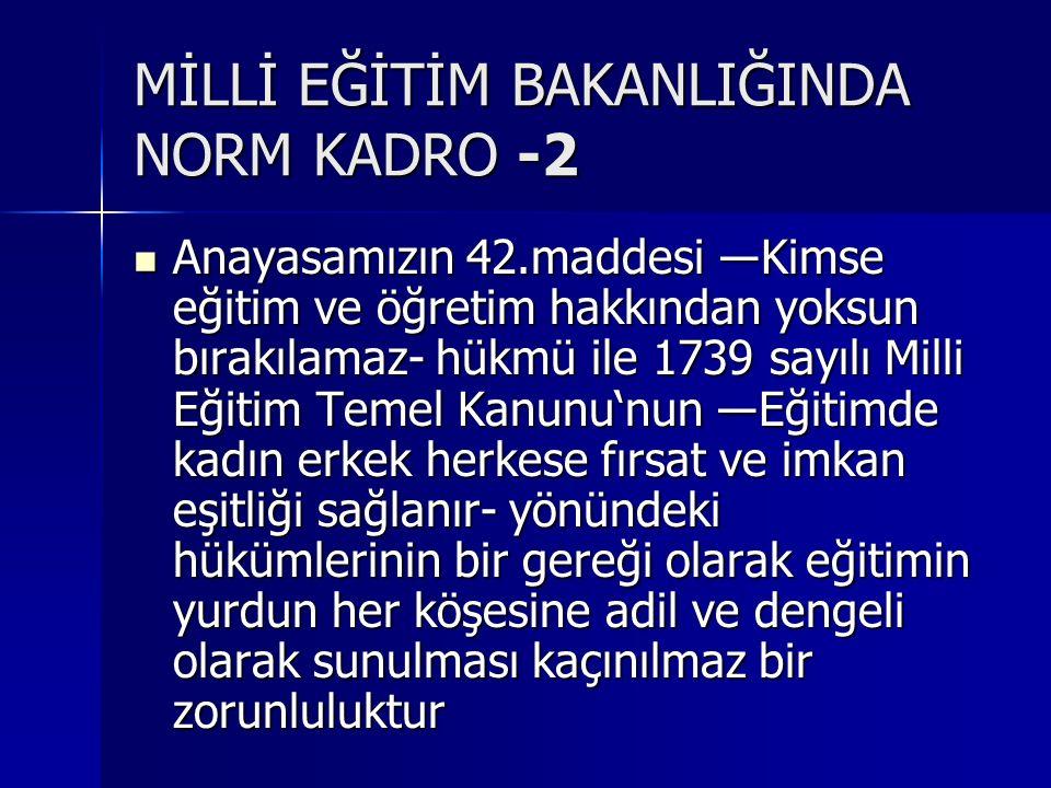 MİLLİ EĞİTİM BAKANLIĞINDA NORM KADRO -2