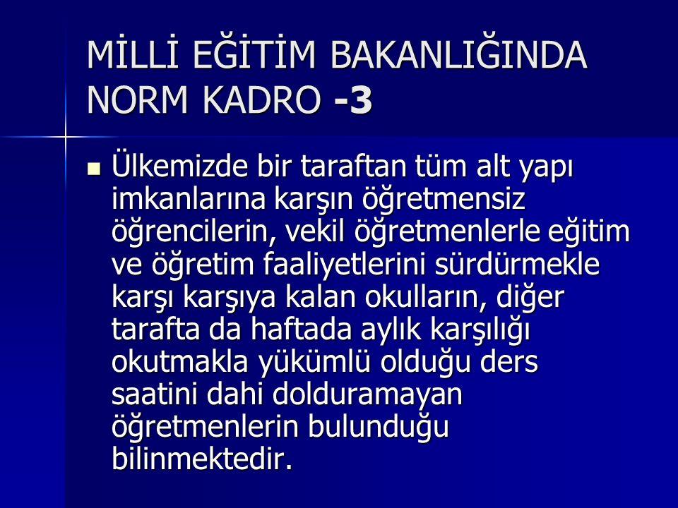 MİLLİ EĞİTİM BAKANLIĞINDA NORM KADRO -3