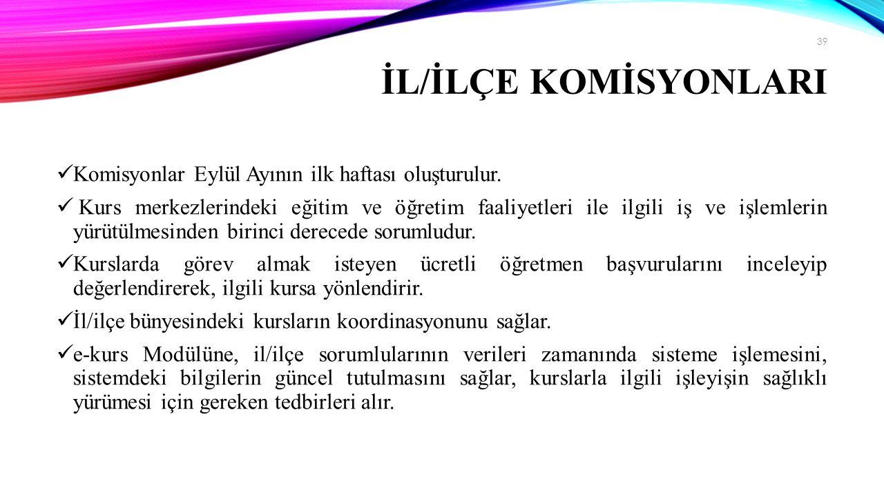 İL/İLÇE KOMİSYONLARI Komisyonlar Eylül Ayının ilk haftası oluşturulur.
