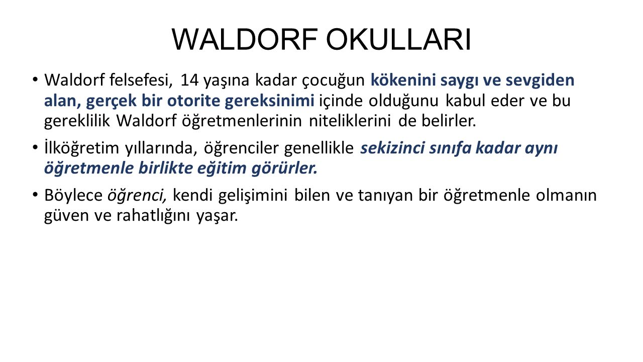 WALDORF OKULLARI