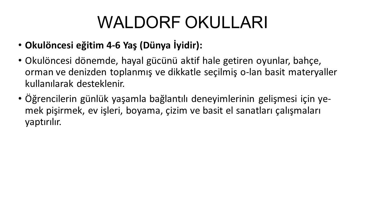 WALDORF OKULLARI Okulöncesi eğitim 4-6 Yaş (Dünya İyidir):