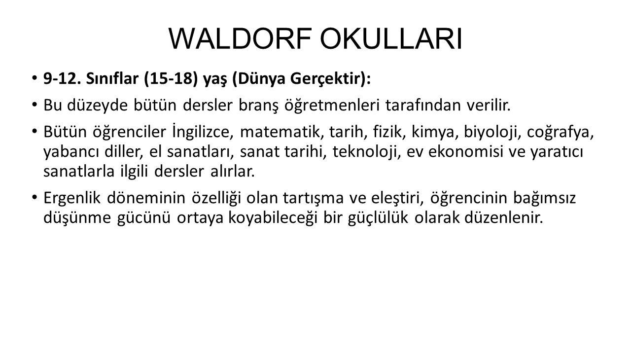 WALDORF OKULLARI 9-12. Sınıflar (15-18) yaş (Dünya Gerçektir):
