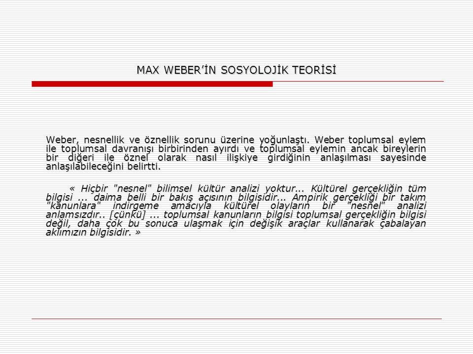 MAX WEBER'İN SOSYOLOJİK TEORİSİ