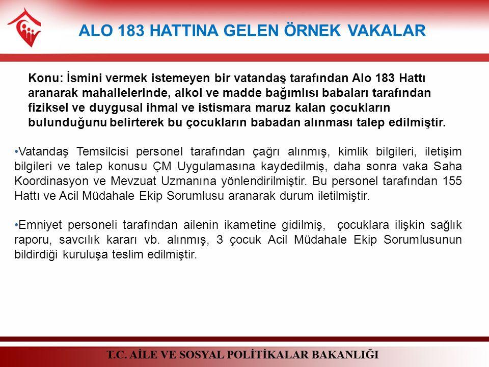 ALO 183 HATTINA GELEN ÖRNEK VAKALAR