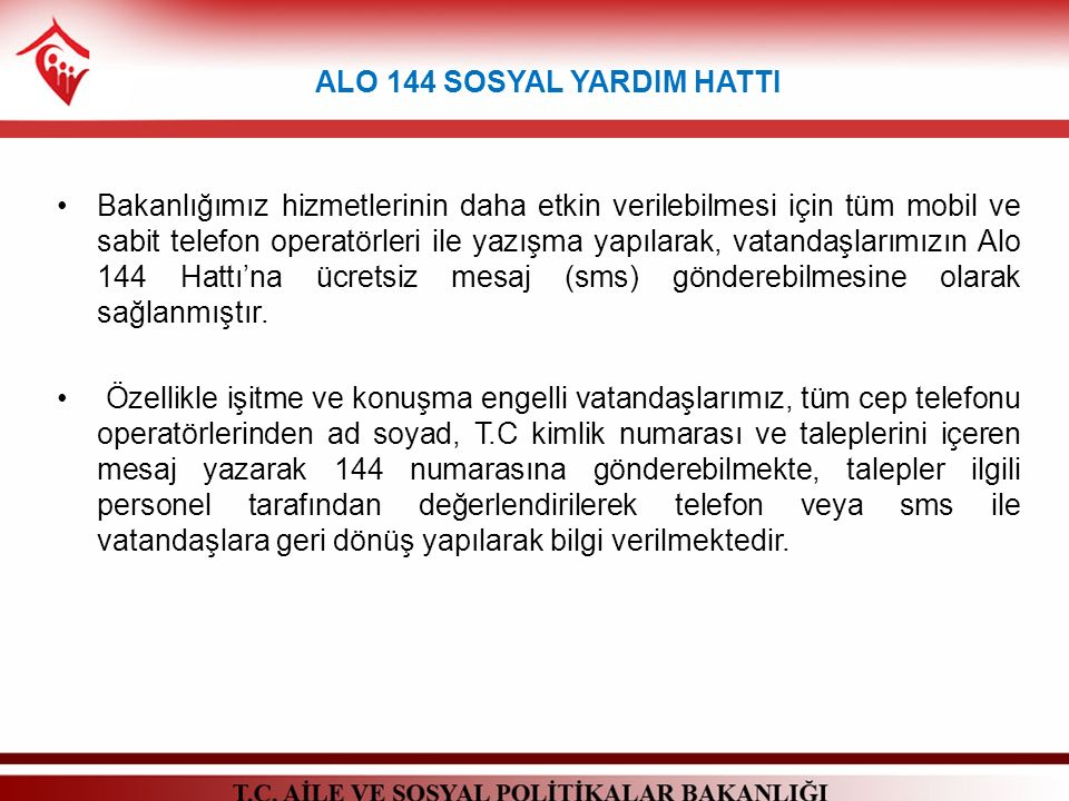 ALO 144 SOSYAL YARDIM HATTI