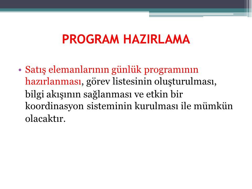 PROGRAM HAZIRLAMA Satış elemanlarının günlük programının hazırlanması, görev listesinin oluşturulması,