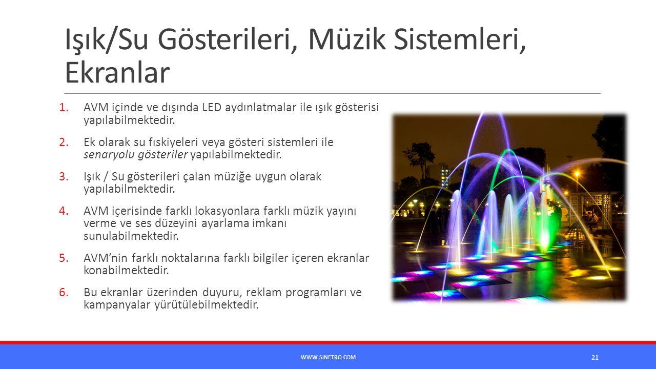 Işık/Su Gösterileri, Müzik Sistemleri, Ekranlar