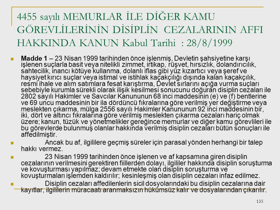 4455 sayılı MEMURLAR İLE DİĞER KAMU GÖREVLİLERİNİN DİSİPLİN CEZALARININ AFFI HAKKINDA KANUN Kabul Tarihi : 28/8/1999