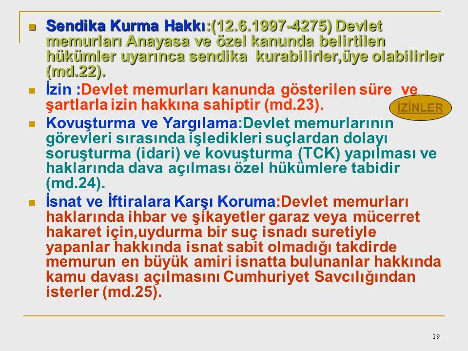 Sendika Kurma Hakkı:(12.6.1997-4275) Devlet memurları Anayasa ve özel kanunda belirtilen hükümler uyarınca sendika kurabilirler,üye olabilirler (md.22).