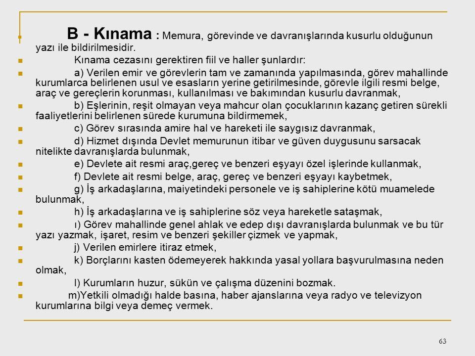 Kınama cezasını gerektiren fiil ve haller şunlardır: