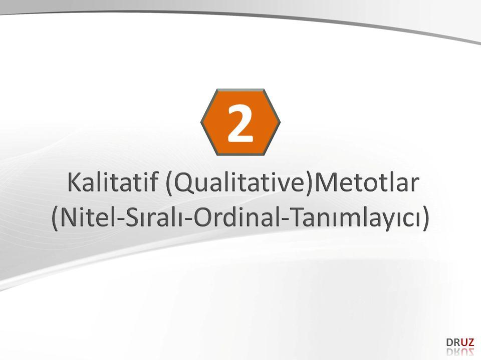 2 Kalitatif (Qualitative)Metotlar (Nitel-Sıralı-Ordinal-Tanımlayıcı)