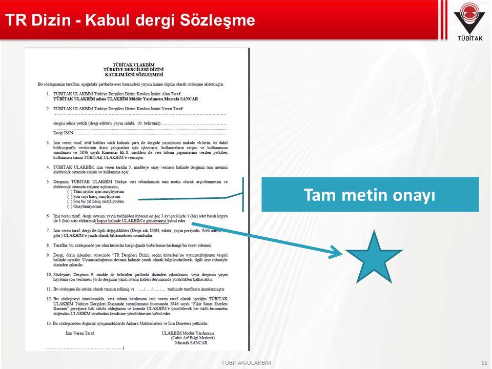 TR Dizin - Kabul dergi Sözleşme