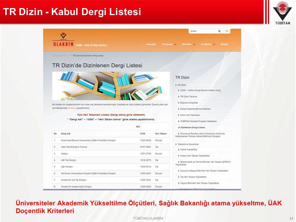 TR Dizin - Kabul Dergi Listesi