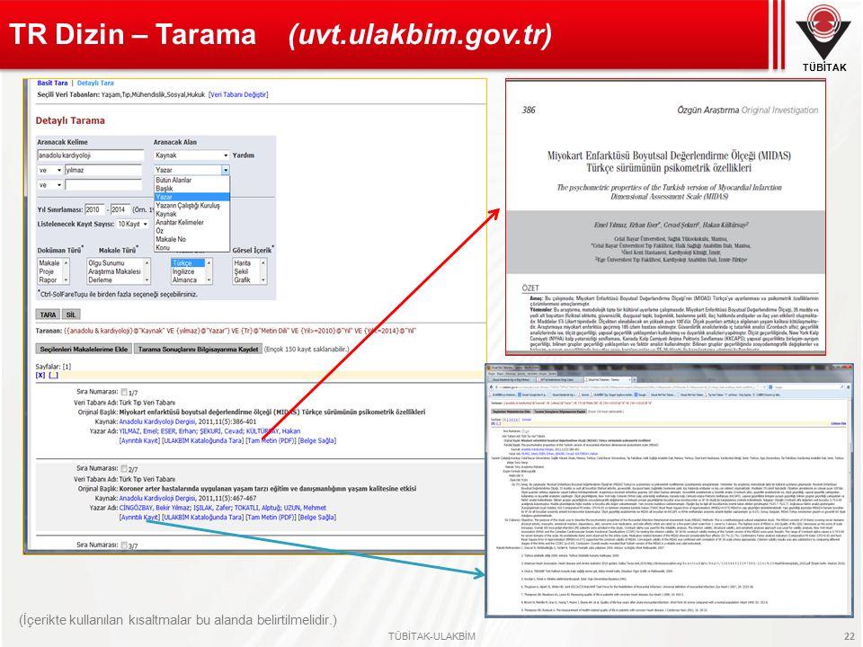TR Dizin – Tarama (uvt.ulakbim.gov.tr)