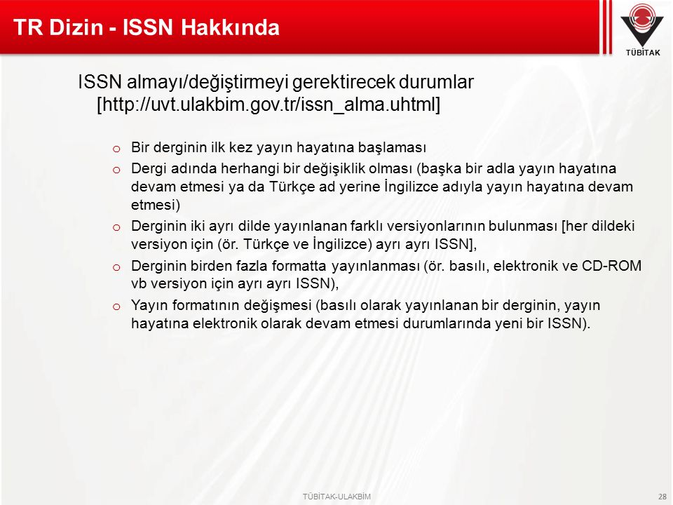 TR Dizin - ISSN Hakkında