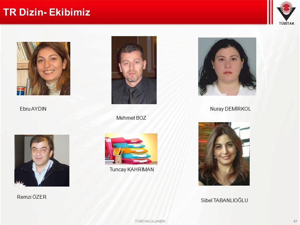 TR Dizin- Ekibimiz Ebru AYDIN Nuray DEMİRKOL Mehmet BOZ