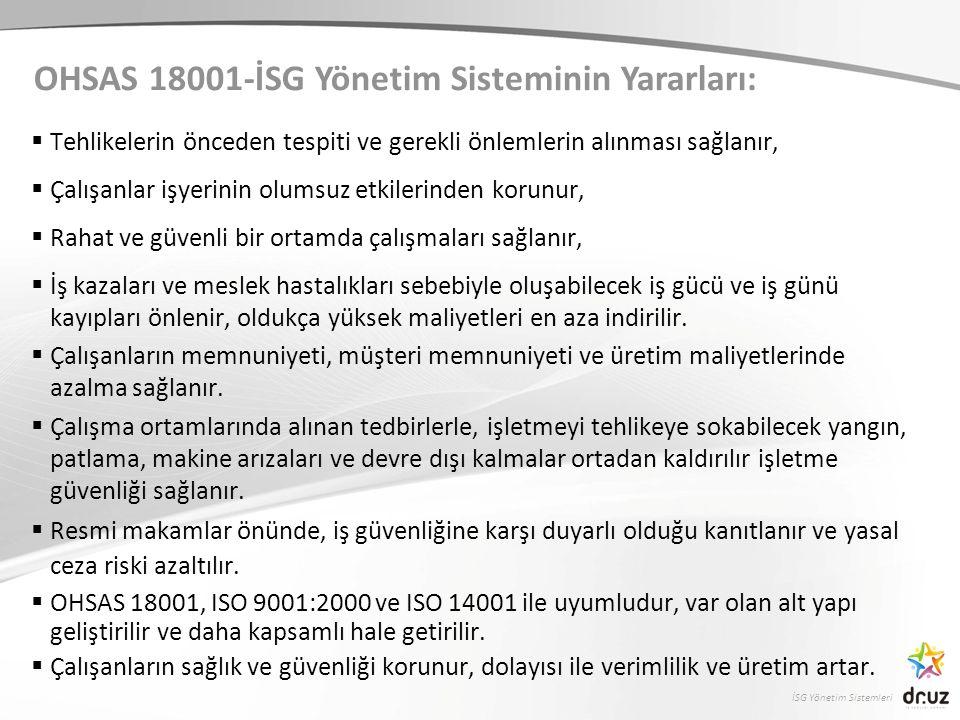 OHSAS 18001-İSG Yönetim Sisteminin Yararları: