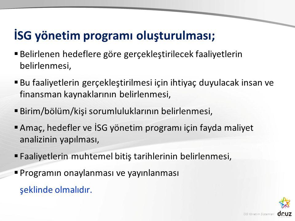 İSG yönetim programı oluşturulması;