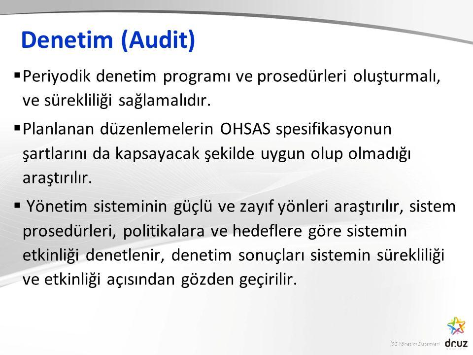 Denetim (Audit) Periyodik denetim programı ve prosedürleri oluşturmalı, ve sürekliliği sağlamalıdır.