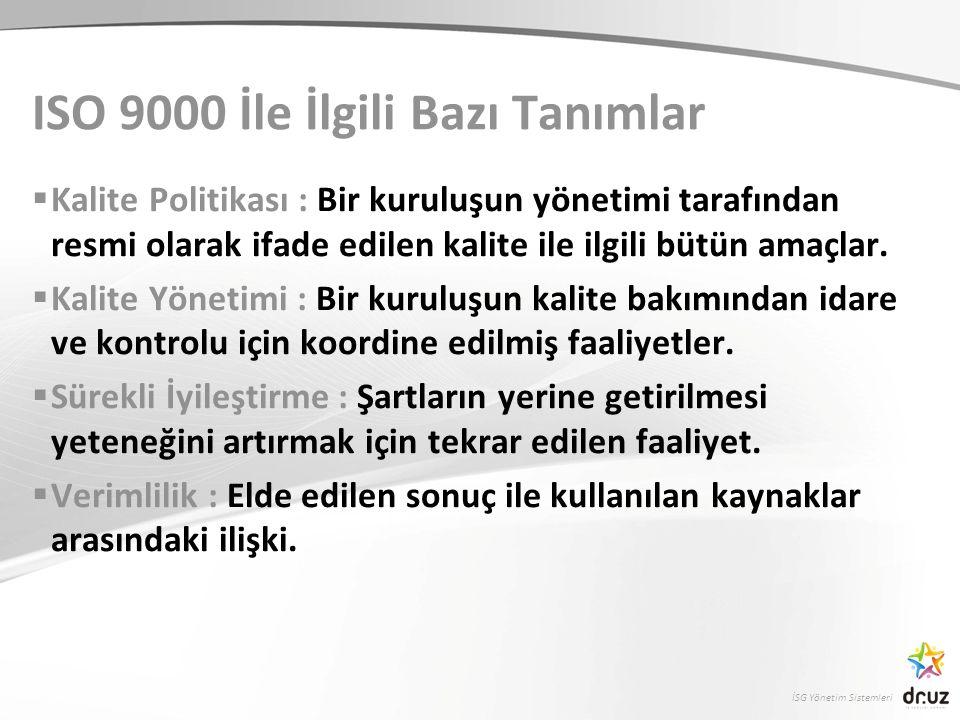 ISO 9000 İle İlgili Bazı Tanımlar