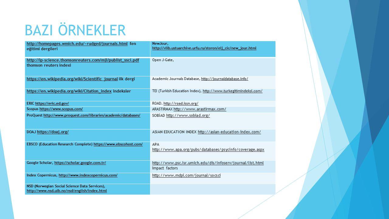 BAZI ÖRNEKLER http://homepages.wmich.edu/~rudged/journals.html fen eğitimi dergileri.
