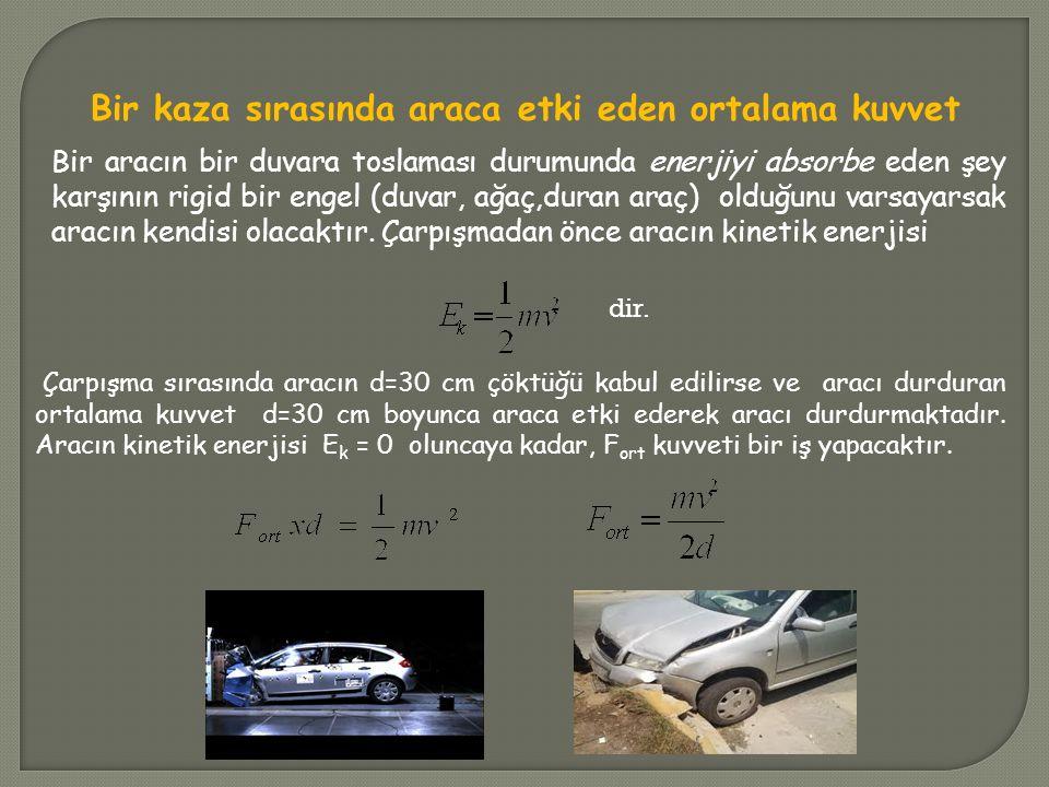 Bir kaza sırasında araca etki eden ortalama kuvvet