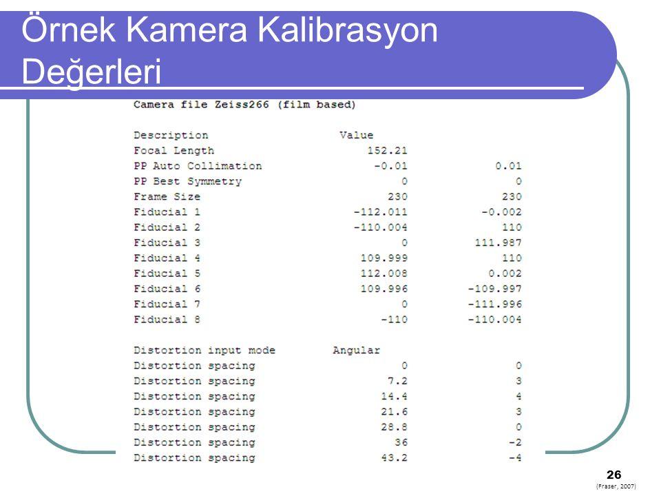 Örnek Kamera Kalibrasyon Değerleri