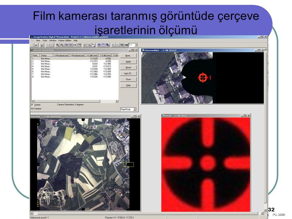Film kamerası taranmış görüntüde çerçeve işaretlerinin ölçümü