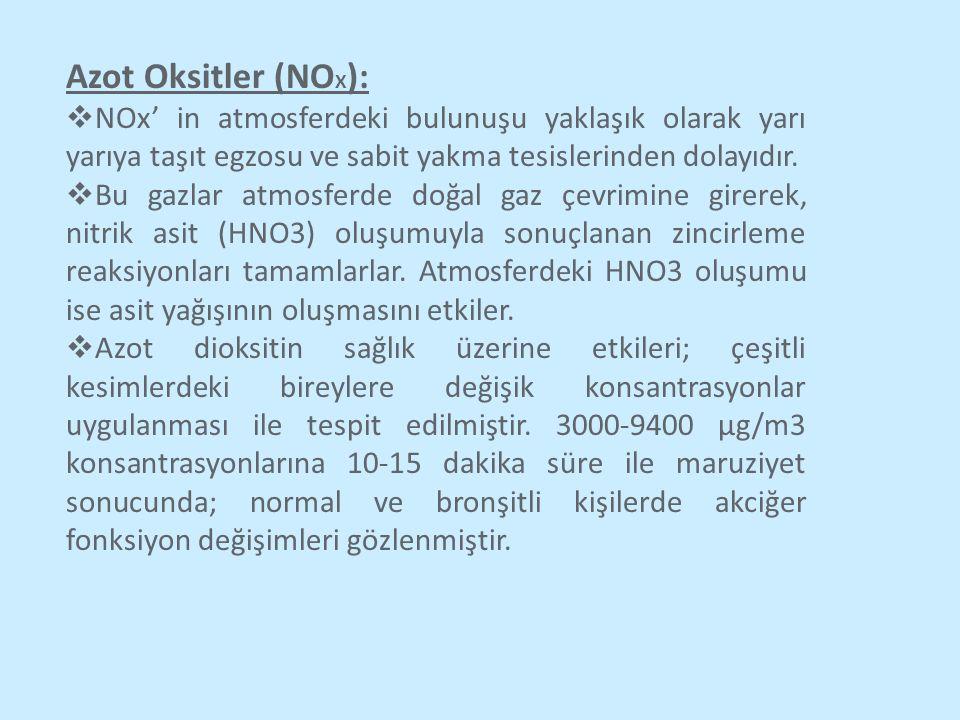 Azot Oksitler (NOX): NOx' in atmosferdeki bulunuşu yaklaşık olarak yarı yarıya taşıt egzosu ve sabit yakma tesislerinden dolayıdır.