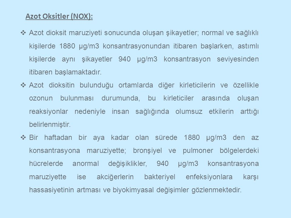 Azot Oksitler (NOX):