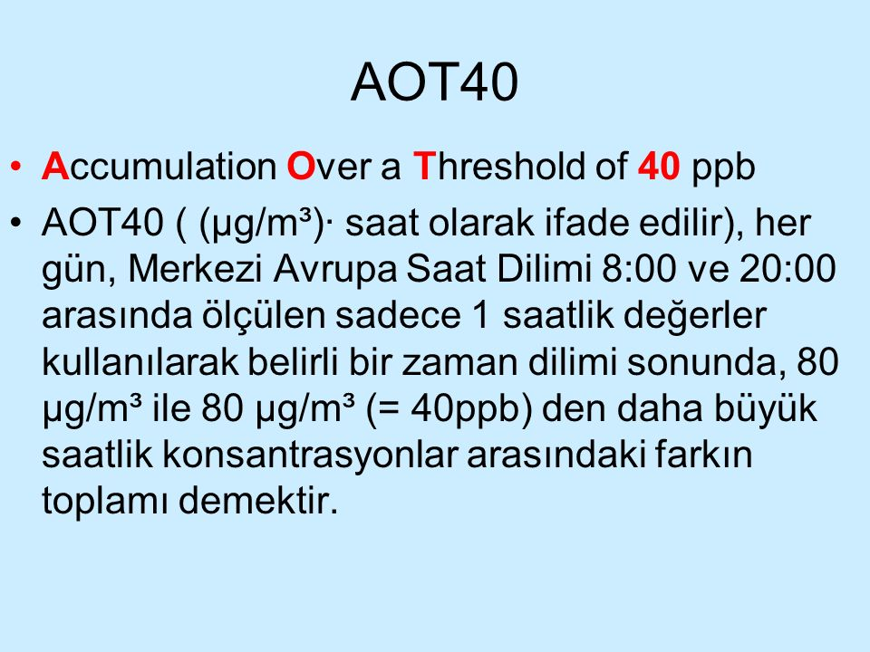 AOT40 Accumulation Over a Threshold of 40 ppb