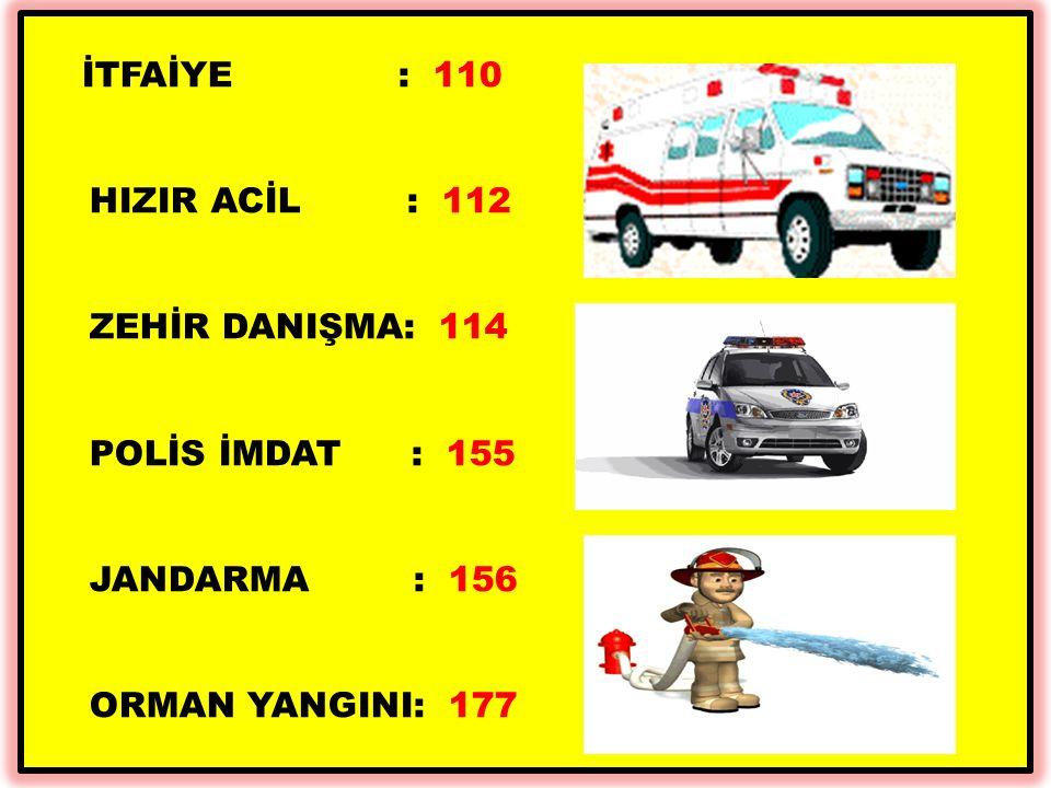 HIZIR ACİL : 112 ZEHİR DANIŞMA: 114 POLİS İMDAT : 155 JANDARMA : 156