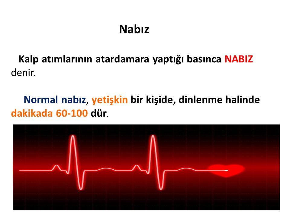Nabız Kalp atımlarının atardamara yaptığı basınca NABIZ denir.