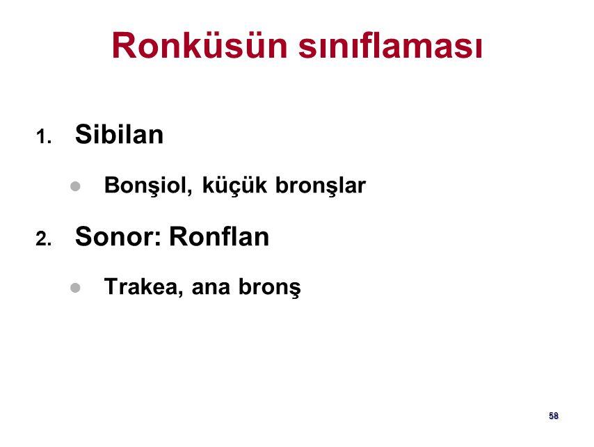 Ronküsün sınıflaması Sibilan Sonor: Ronflan Bonşiol, küçük bronşlar