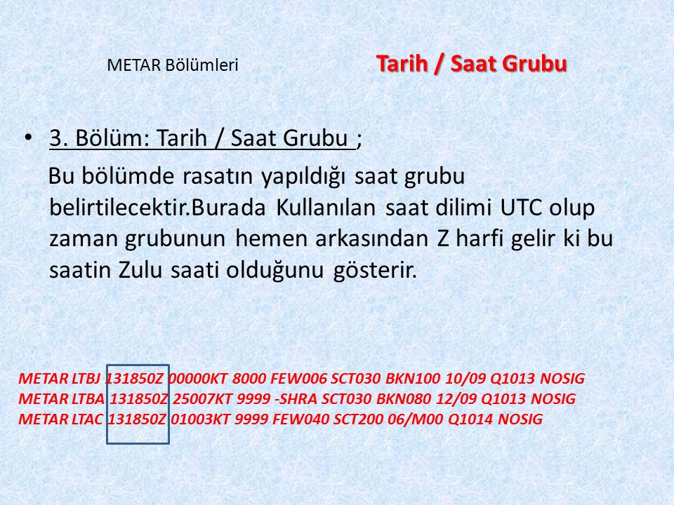 METAR Bölümleri Tarih / Saat Grubu