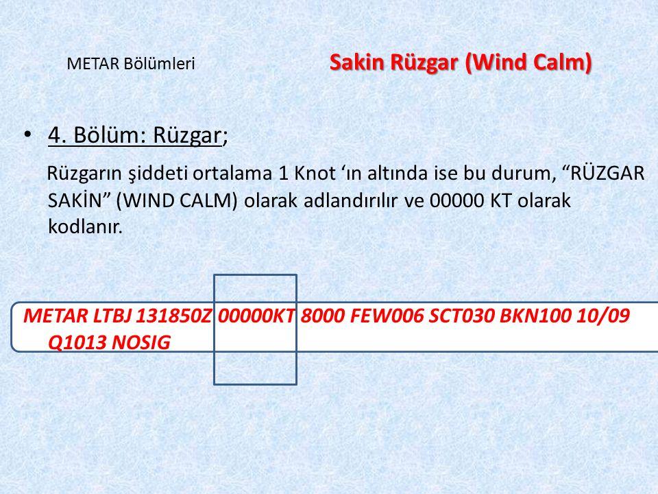 METAR Bölümleri Sakin Rüzgar (Wind Calm)