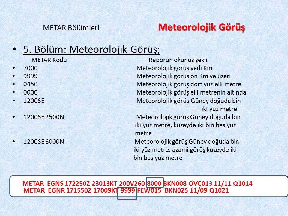 METAR Bölümleri Meteorolojik Görüş