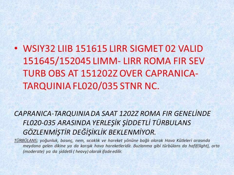 WSIY32 LIIB 151615 LIRR SIGMET 02 VALID 151645/152045 LIMM- LIRR ROMA FIR SEV TURB OBS AT 151202Z OVER CAPRANICA-TARQUINIA FL020/035 STNR NC.