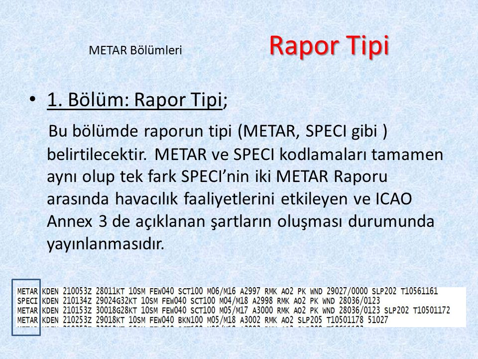 METAR Bölümleri Rapor Tipi