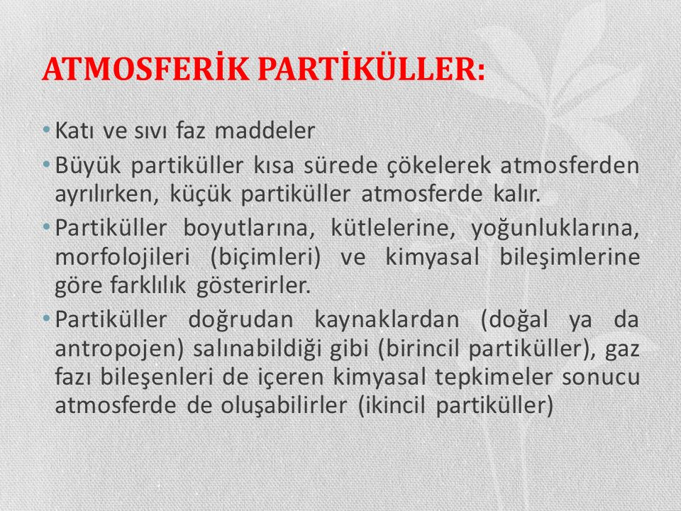ATMOSFERİK PARTİKÜLLER: