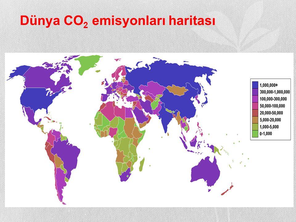 Dünya CO2 emisyonları haritası