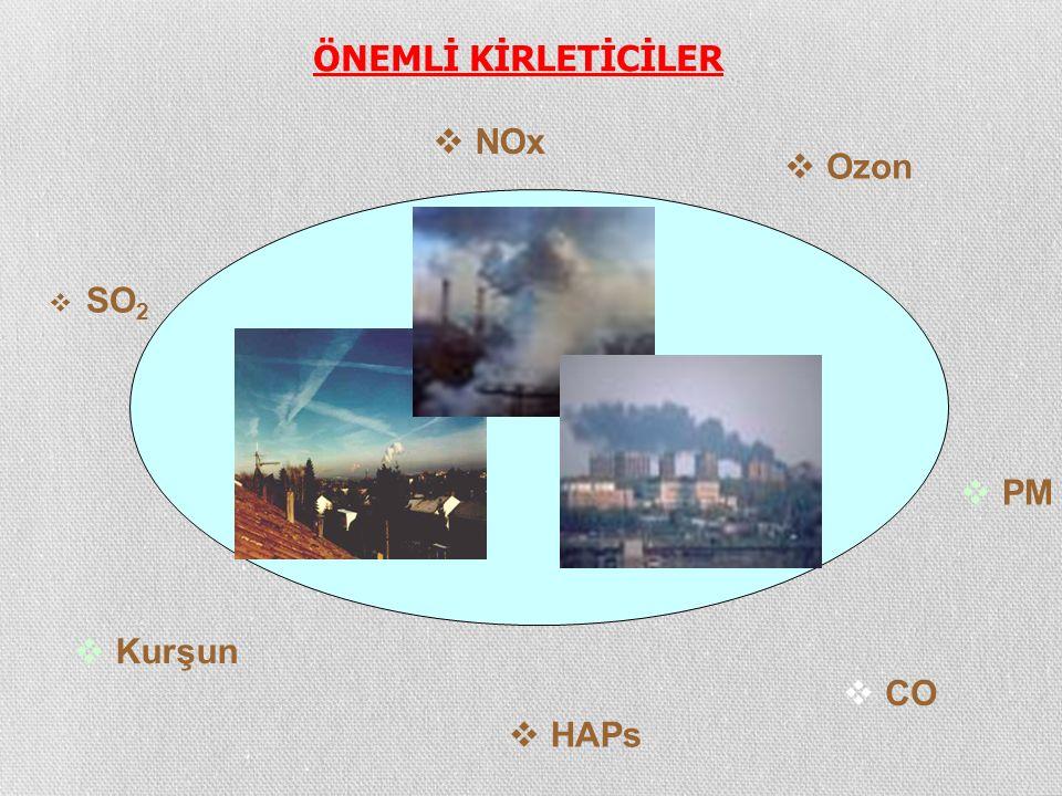 ÖNEMLİ KİRLETİCİLER NOx Ozon SO2 PM Kurşun CO HAPs
