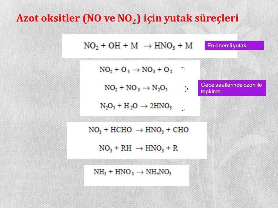 Azot oksitler (NO ve NO2) için yutak süreçleri