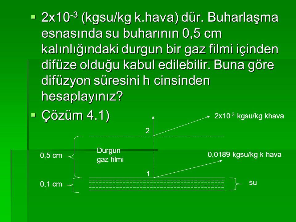 2x10-3 (kgsu/kg k.hava) dür. Buharlaşma esnasında su buharının 0,5 cm kalınlığındaki durgun bir gaz filmi içinden difüze olduğu kabul edilebilir. Buna göre difüzyon süresini h cinsinden hesaplayınız