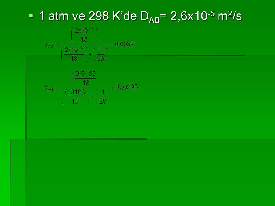 1 atm ve 298 K'de DAB= 2,6x10-5 m2/s