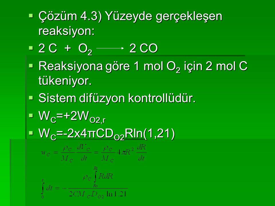 Çözüm 4.3) Yüzeyde gerçekleşen reaksiyon: