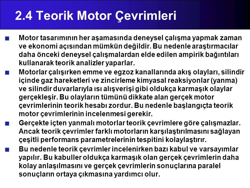2.4 Teorik Motor Çevrimleri