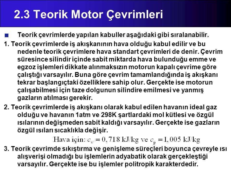 2.3 Teorik Motor Çevrimleri